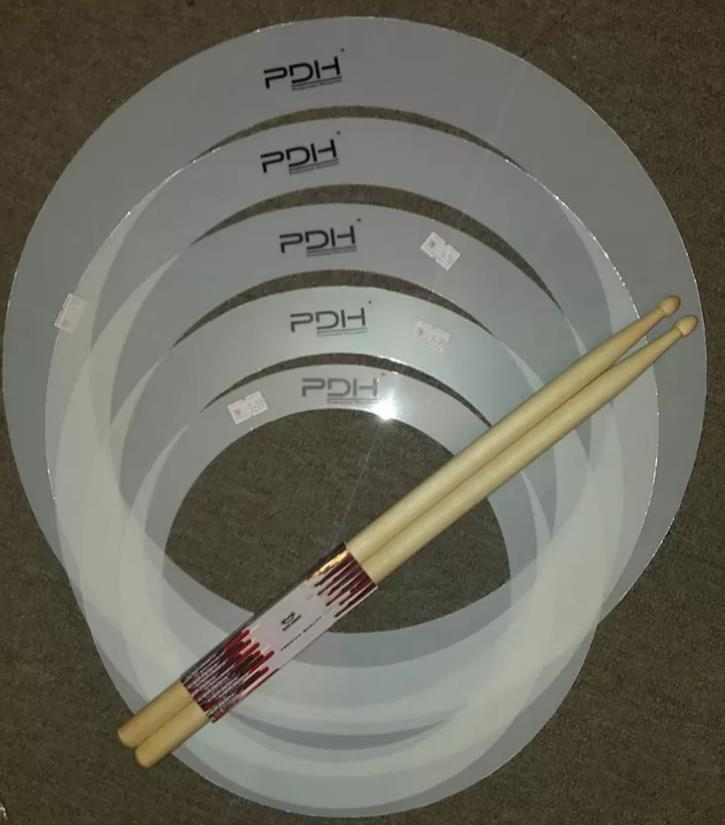 "Drum Mute Rings Package 10"" 12"" 13"" 14"" & 16"" Free Drum Sticks"