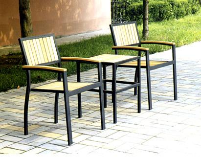 DS8827 Wood/Metal 3pc Patio Set