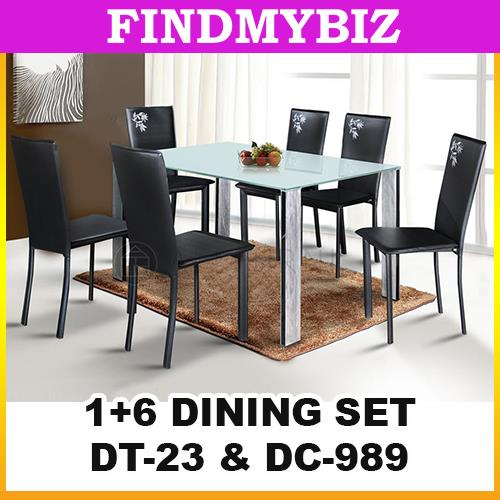 DT23-989 BLACK WHOLESALE 1+6 DINING TABLE SET PARSON PU LEATEHR CHAIR