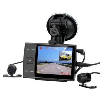 Dual Camera Car DVR - 480P, 3.5 Inch LCD Screen, 1/4 Inch CMOS Sensor