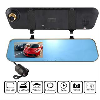 Dual lens Rearview Mirror Camera Video Recorder Car DVR 1080P 4.3 inch