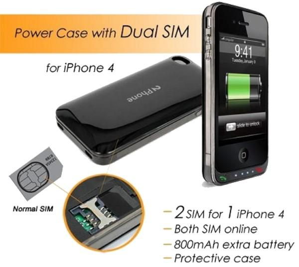 Dual Sim Dual Standby Adapter Backup Battery Case For iPhone 4