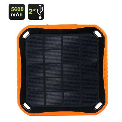 Dual USB Solar Charger - 5600mAh Battery, Portable, Dust, Waterproof