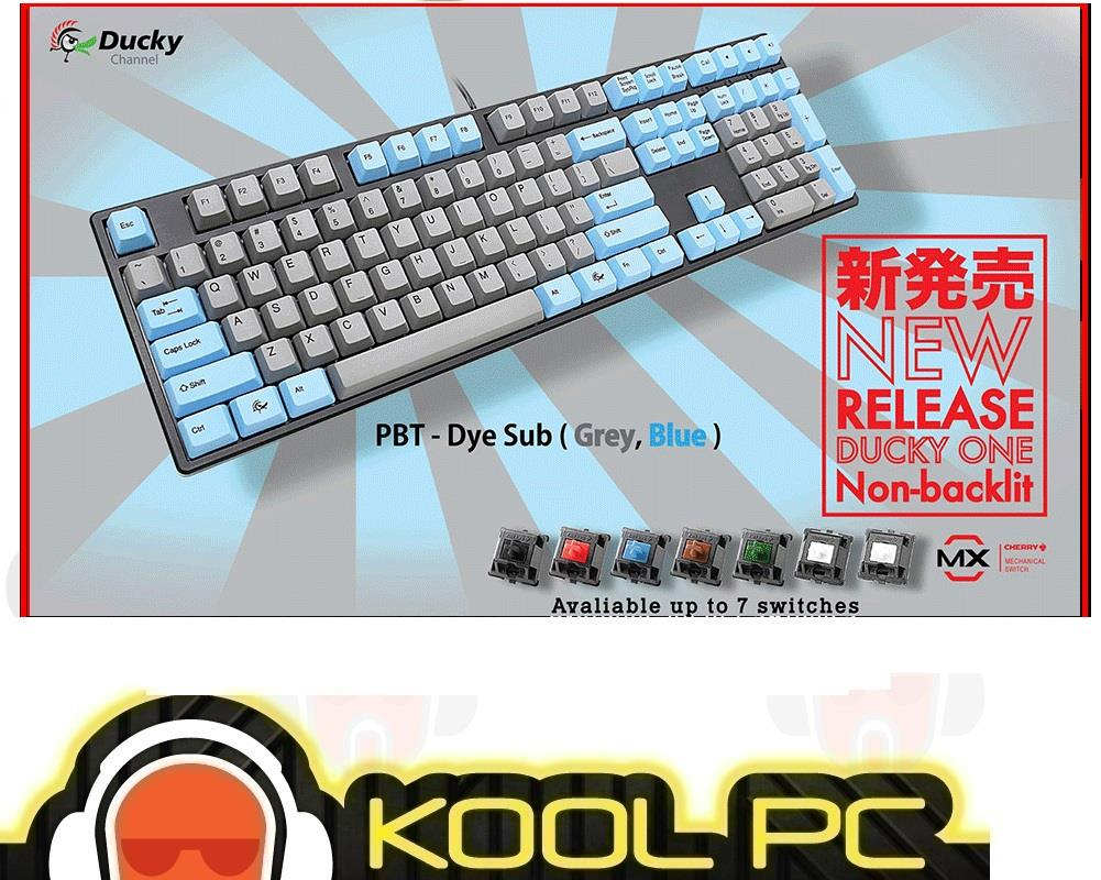 Ducky One Non backlit Cherry MX Mechanical Keyboard (Blue Grey Keycap)