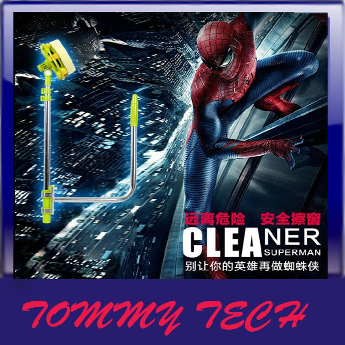 Duplex window cleaner telescopic rod wiper glass cleaner