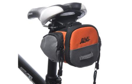 Durable Saddle Bag with Tight Zippers for Bicycle (Grey with Orange)