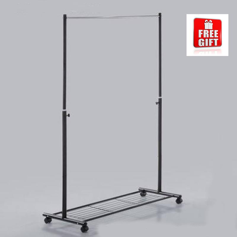 Durable Stainless Steel Adjustable Garment Rack With Mesh Storage