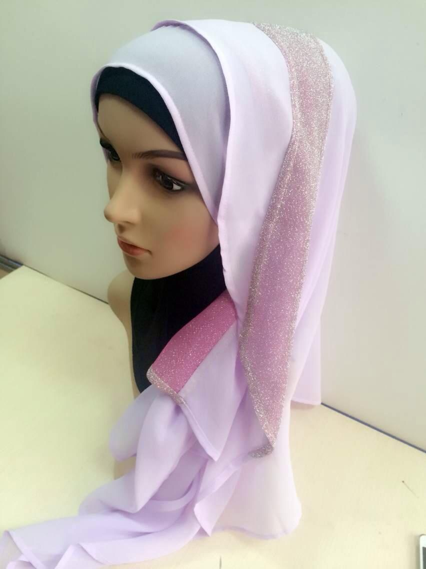 Dwi-warna Chiffon Hijab Tudung (Light Purple)