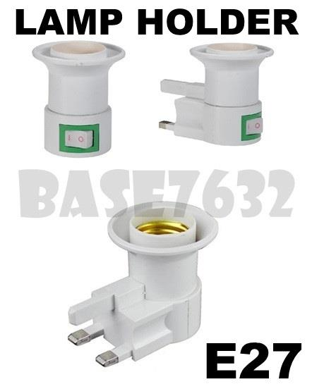 E27 UK Wall Socket  Lamp Bulb Holder Adapter On Off Button Switch