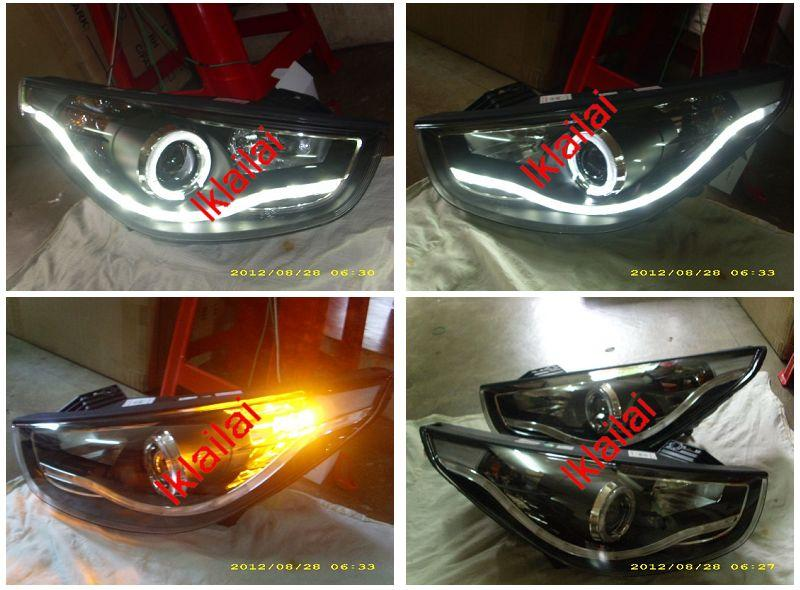 EAGLE EYES Hyundai Tucson iX35 Projector Head Lamp W/LED Ring [R8 Look