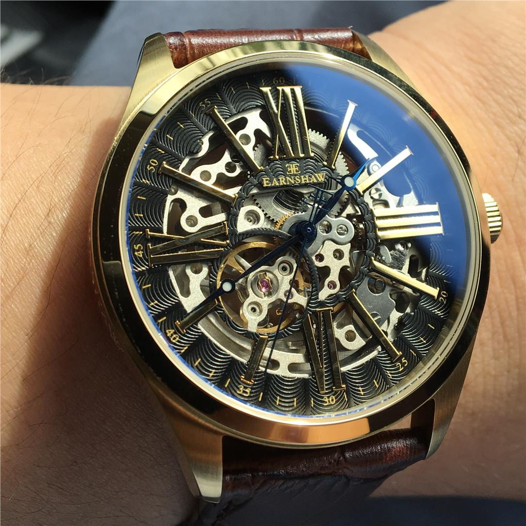 Earnshaw Amargh Skeleton Gold Sapphire Automatic
