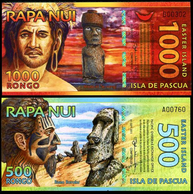 Easter island 500 1000 rongo 2011 polymer 2 pcs unc