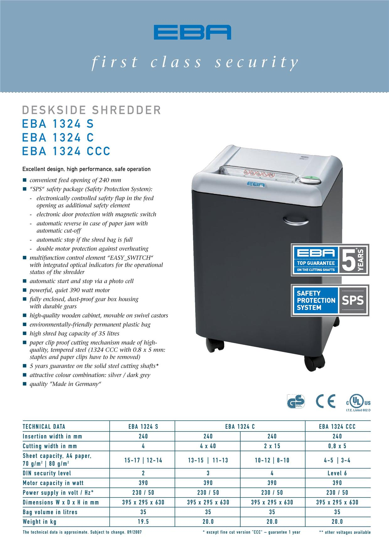 EBA Paper Shredder_1324C (Cross Cut)