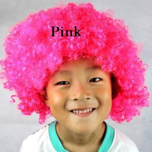 Economy Pink Crazy Curly Clown Wig Halloween Funny Hair Costumes