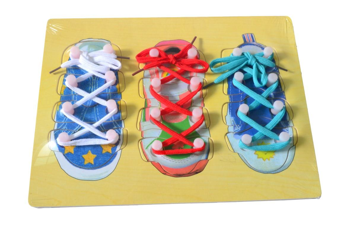 Educational Learning Wood Board- Tie Shoes Rope