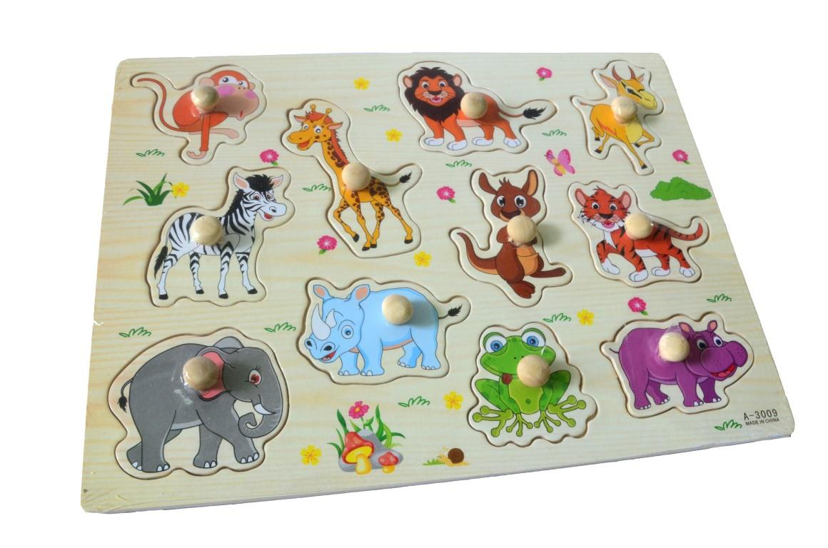 Educational Learning Wood Puzzle- Zoo Animals