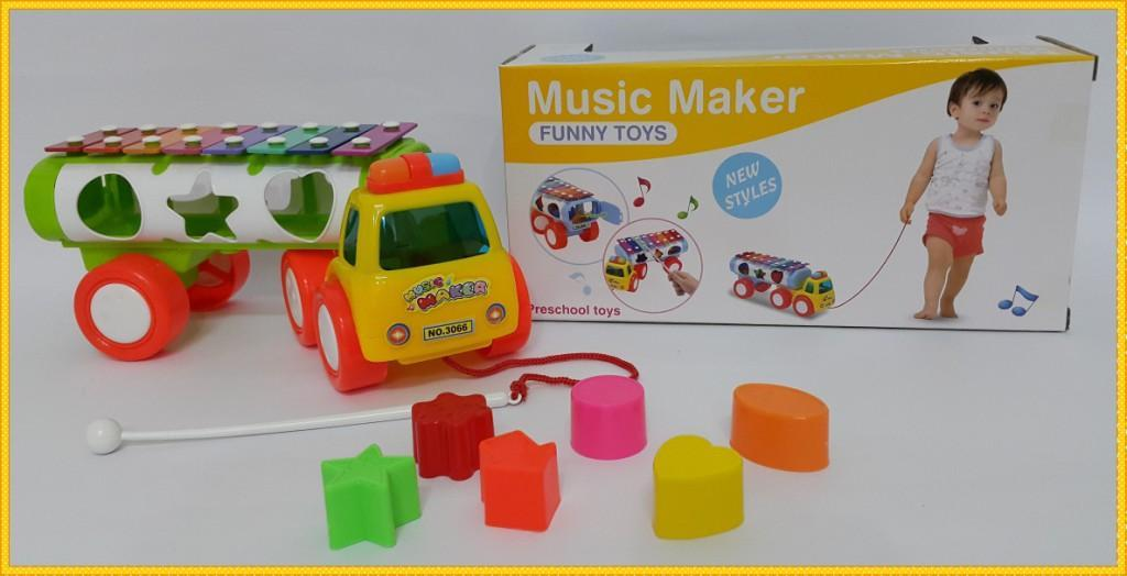 Educational Music Maker Trucks with Lovely Shape Puzzle Toys