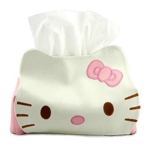 [EH437-16084] Cute Hello Kitty Leather Tissue Box