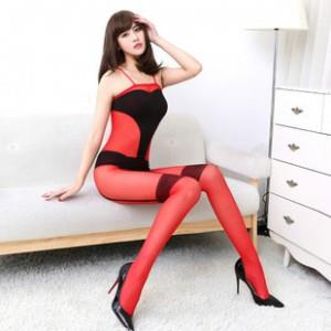 [EH871-17254R] American Transparent Sexy One Pcs Stockings (Red)