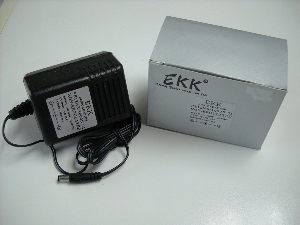 EKK AC-DC ADAPTOR 12V 1000mA NON-REGULATED (PS12NR,1000B-01)