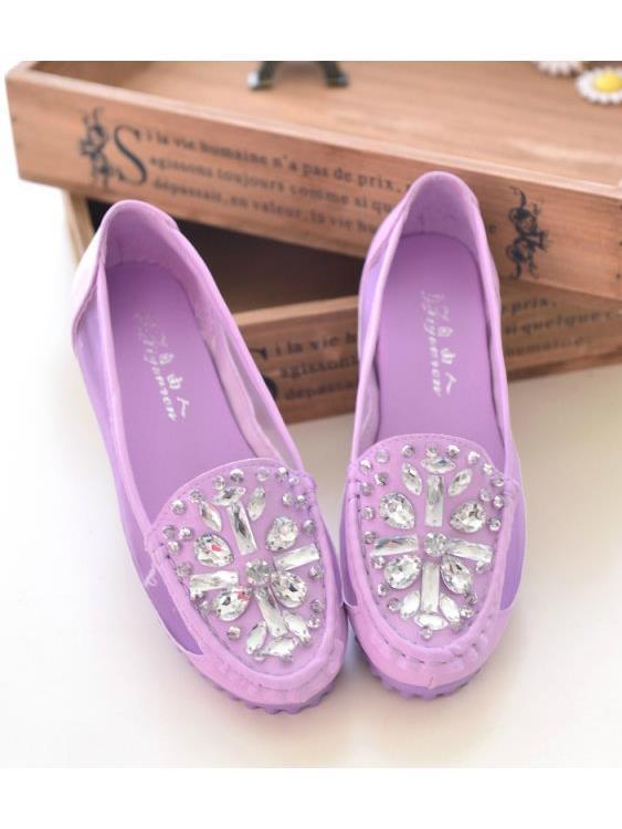 Elegant Diamond Polyester Pump Shoes (Purple)