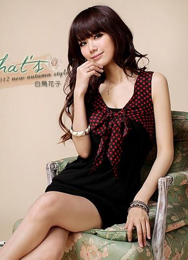 Elegant Dot-dot Show-slim Dress (Black)