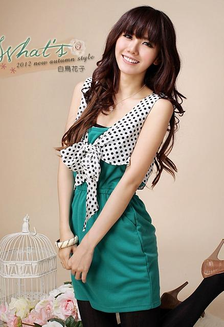 Elegant Dot-dot Show-slim Dress (Green)