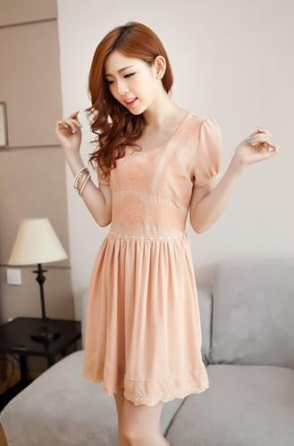 Elegant Embroid Flower-Bottom Dress (Light Orange)