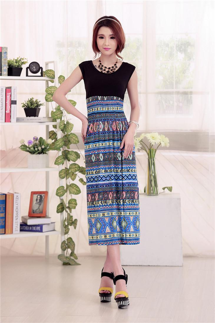 Elegant Ice Silk Show-slim Bohemian Long Dress (08)