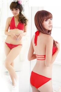 Elegant Lace Halter-Style Bra Set 15026 (Red)
