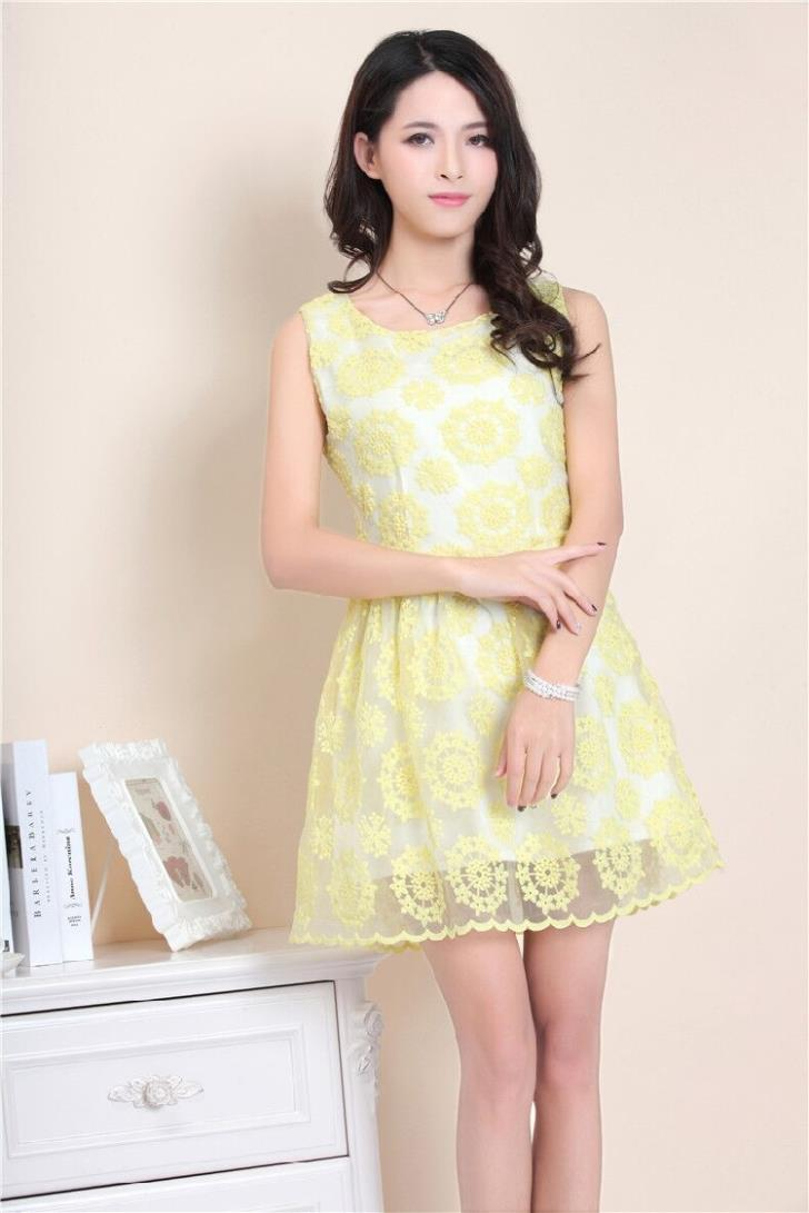 Elegant Lace Show-slim Dress (Light Yellow)