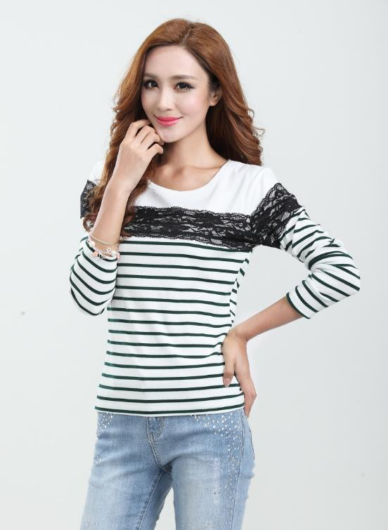 Elegant Lace Stripe Long-sleeve Blouse (Dark Green)