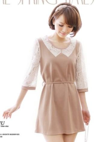 Elegant Lace Tie Chiffon Dress 14749