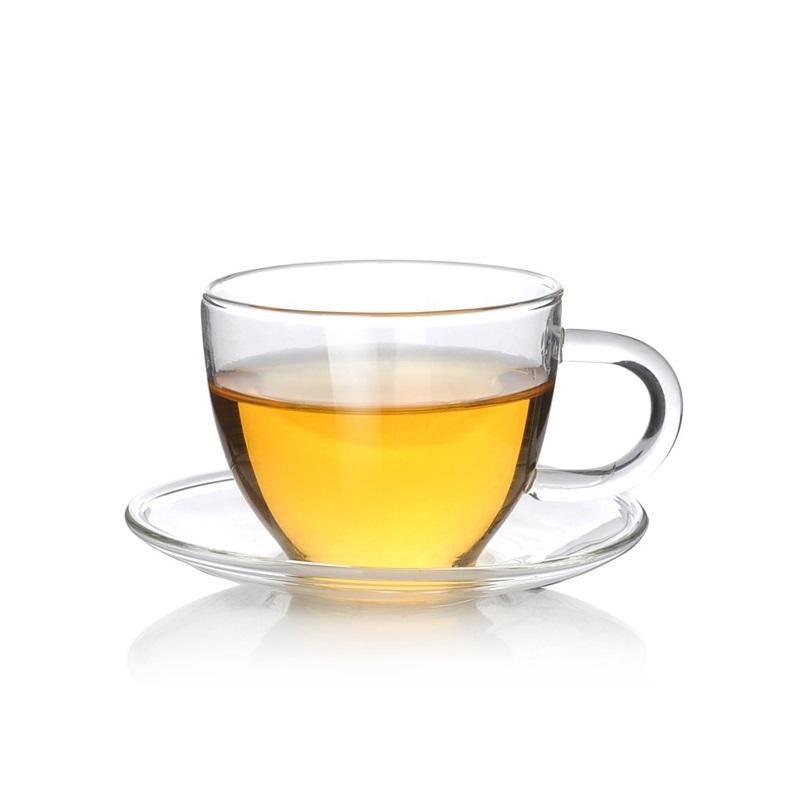 Elegant Life Glass Small Tea Cup & Saucer Set of 2 100ml