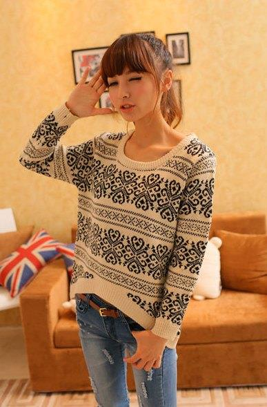 Elegant Long-sleeve Blouse 14933 (Apricot)