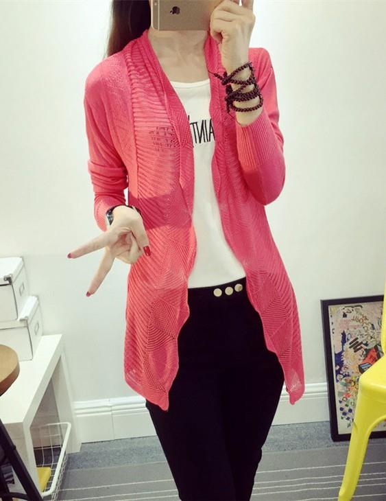 Elegant Long-sleeve Thin Knit Jacket (Many Colour)