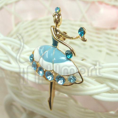 Elegant Music Ballet Girl Gold-Plated Diamond Brooch