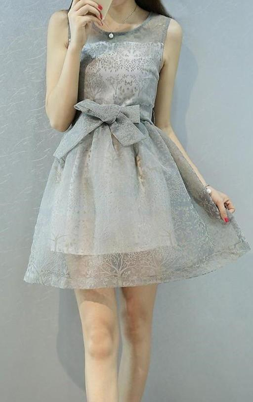 Elegant Organza Ribbon Dress (Grey)