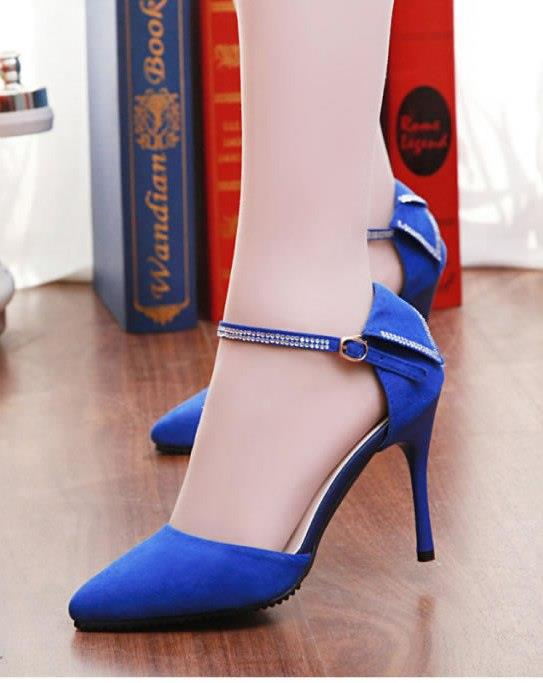Elegant Rhinestone High Heel Sandals (Blue)