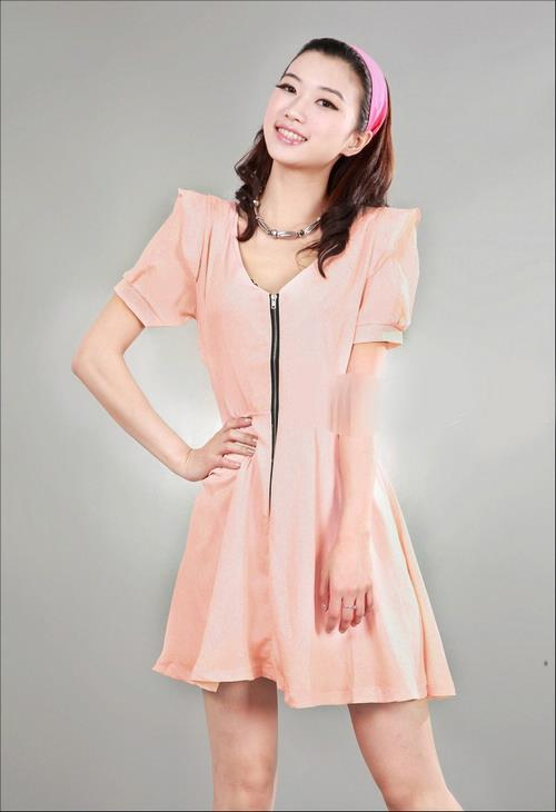 Elegant Short-sleeve Show-slim Dress (Orange Pink)