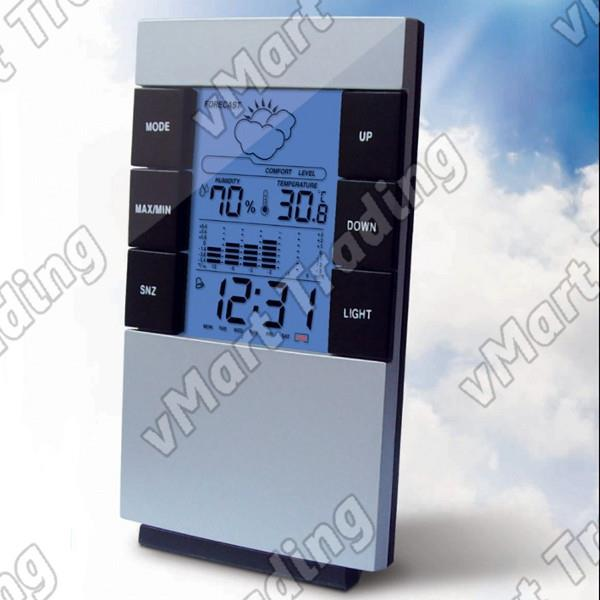Elegant Weather Station  Humidity Hygrometer Thermometer Alarm Clock