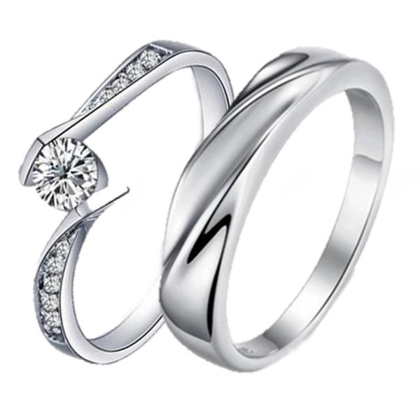 Elfi 925 Genuine Silver Couple Ring C58