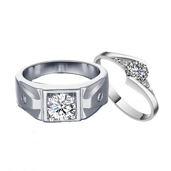 Elfi 925 Silver Couple/Engagement Ring C29