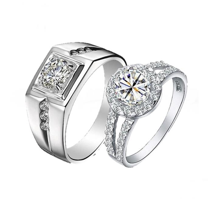 Elfi 925 Silver Couple/Engagement Ring C37
