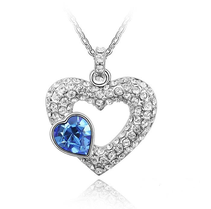 Emotion Pendant Necklace in White Gold - White / Blue Crystal