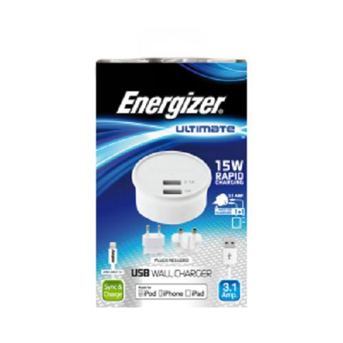 Energizer Wall Charger Ultimate 2USB 3.1Amp for iPhone / iPod / iPad
