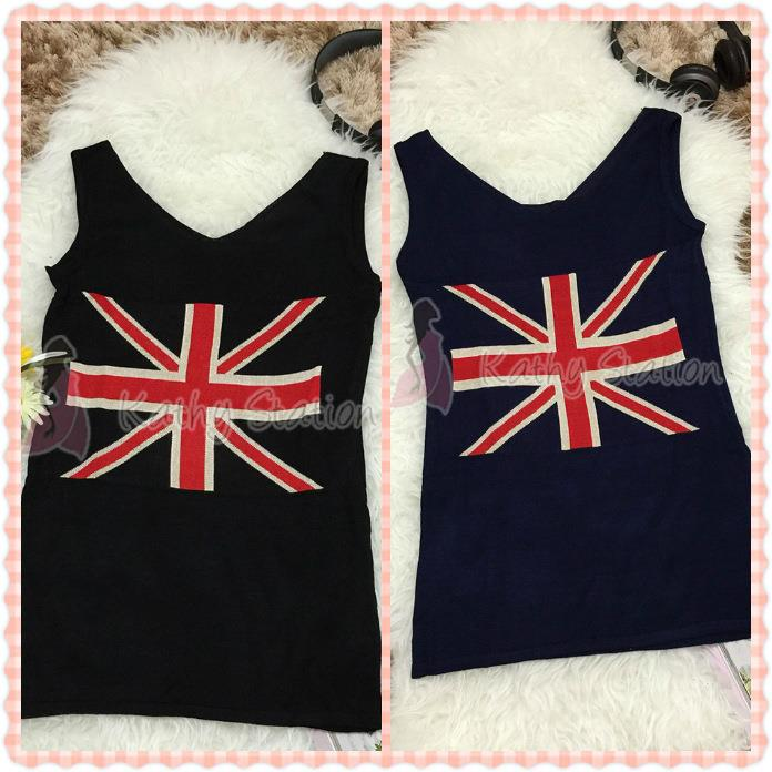 England Flag Sleeveless Wool Dress [10105]