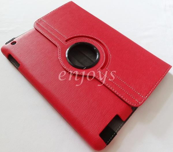 Enjoys: 360 Rotate Leather Pouch Case Cover for Apple iPad 2 3 4 ~RED