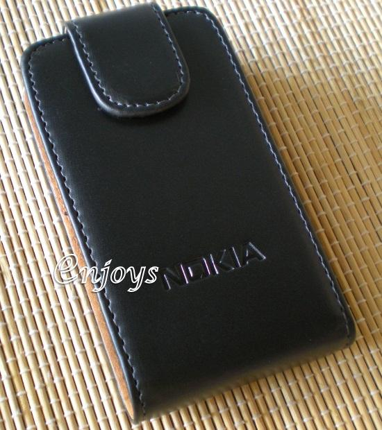 Enjoys: Genuine Leather Flip Pouch Cover Case Nokia C6-01 ~Flip Top