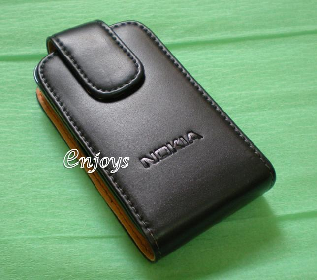 Enjoys: Genuine Leather Flip Pouch Cover Case Nokia N86 8MP ~Top